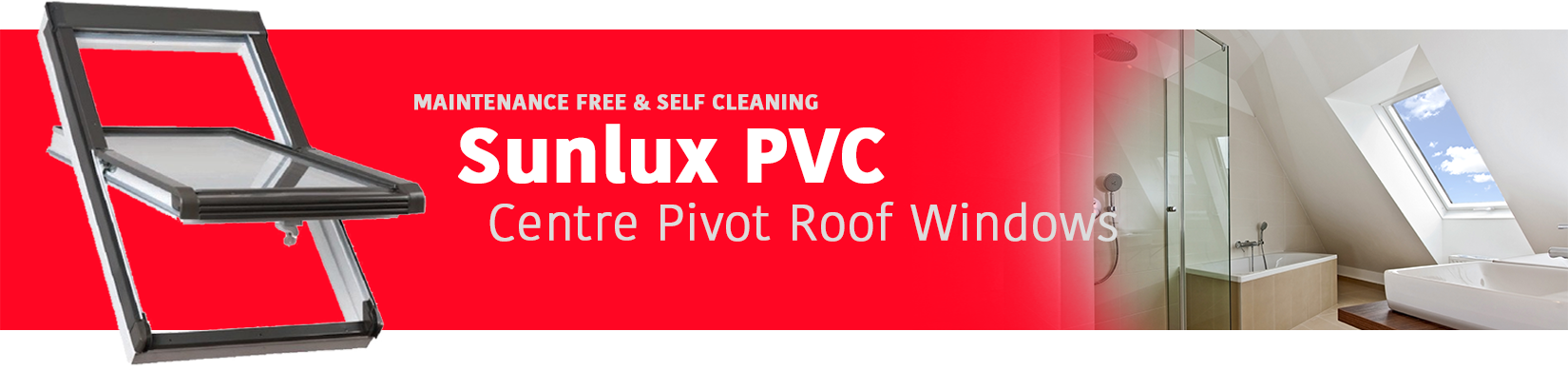 Sunlux center pivot PVC roof windows