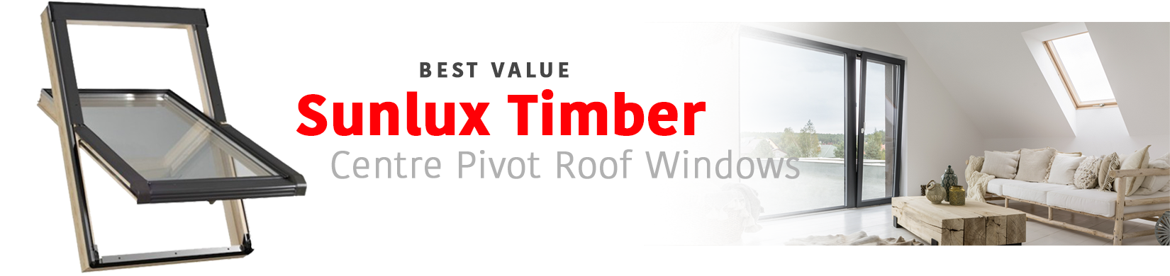 Sunlux center pivot timber roof windows